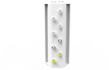 The guiding idea is the space saving of the vertical unit.